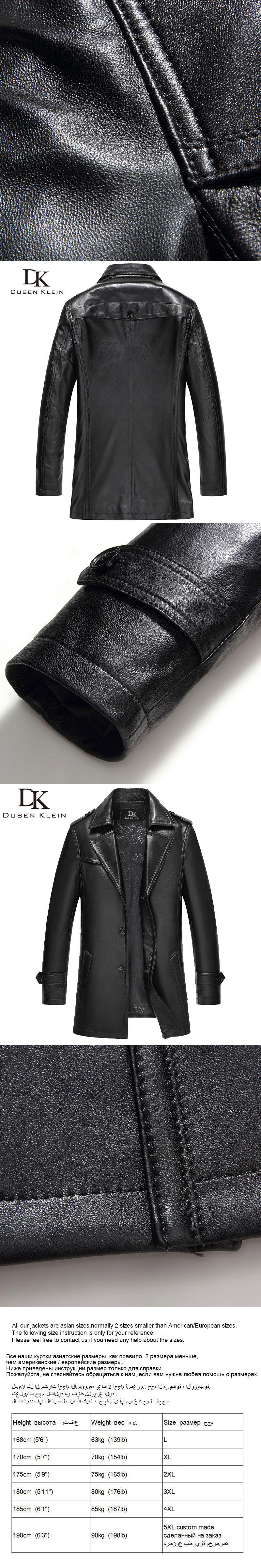 5189398eaa7f Dusen Klein Brand Genuine leather men jacket Sheepskin Mid-long slim  Designer spring leather