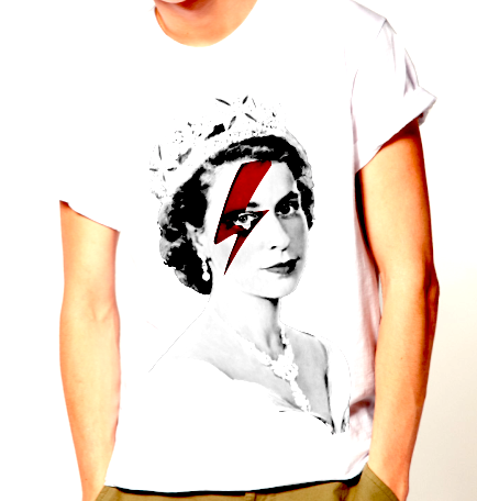 """Lizzy Stardust"", mash up de Ziggy Stardust e Isabel II por Ross Bailey"