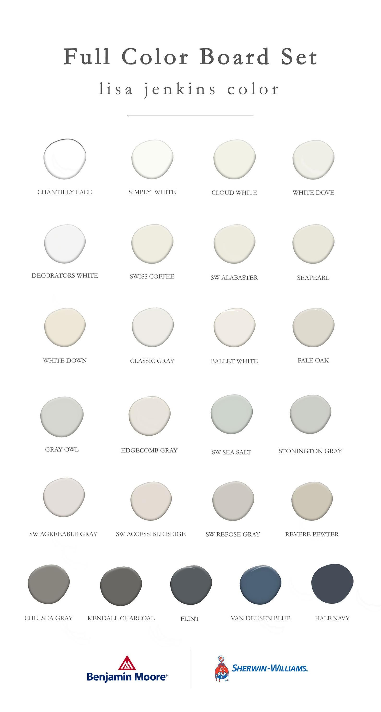 Best Selling Benjamin Moore + Sherwin Williams Col