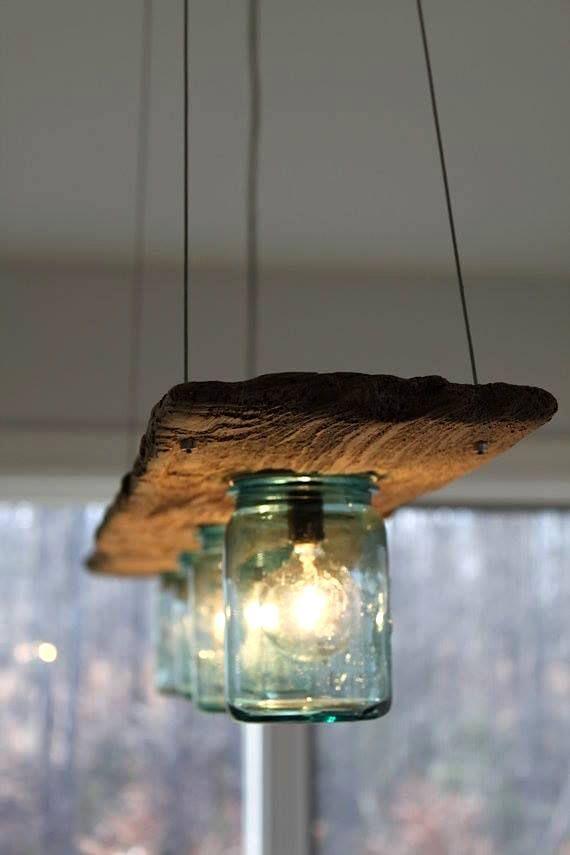 luminaire avec vieille planche et pots masson bricolage pinterest lights house and rustic. Black Bedroom Furniture Sets. Home Design Ideas