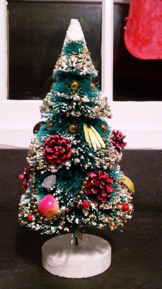 Lovely Vintage Bottle Brush Christmas Tree w/ Fruit and Ornaments