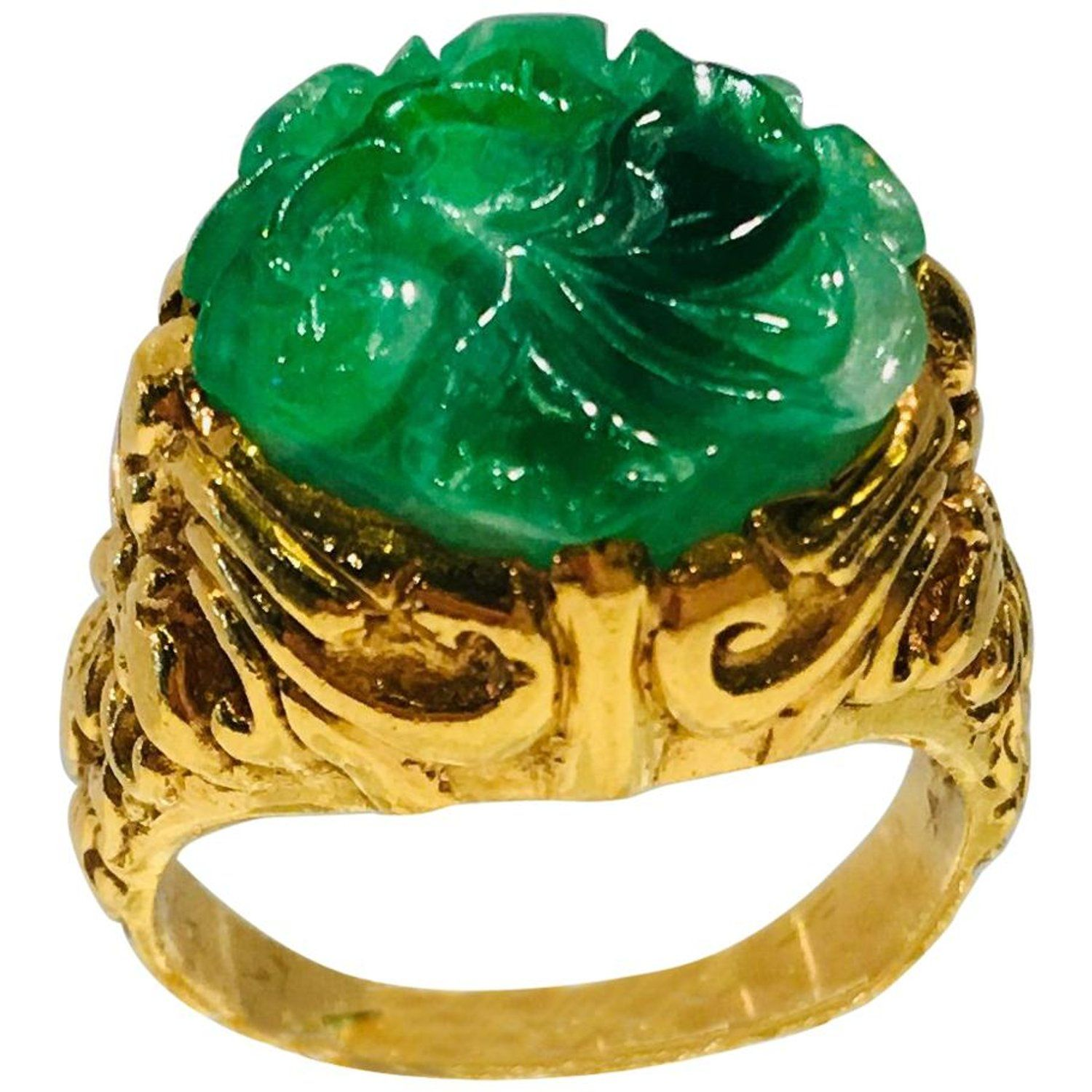 Exquisite Art Deco 12 Carat Jade Carved Flower Apple Green Jade 22 Karat Ring Gold Flower Ring Diamond Rings For Sale Green Diamond Rings