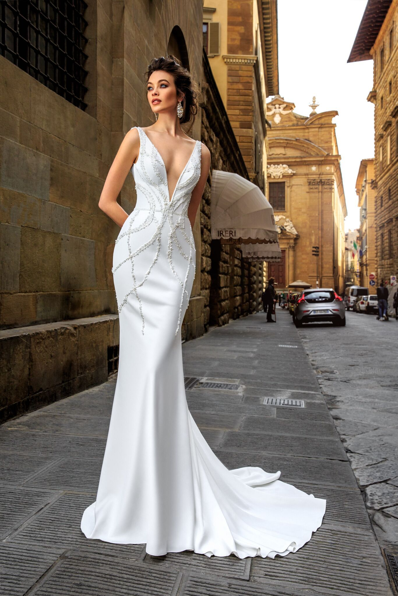 magnificent and elegant couture fit and flare wedding gown with