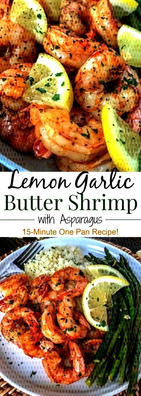 Butter Shrimp with Asparagus - Butter shrimp with cauliflower rice and green beans -Lemon Garlic