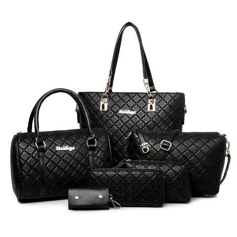 European and American Fashion 6 Pc Leather Handbag Set