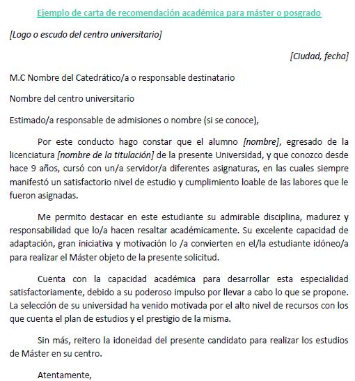 Carta Recomendación Academica Master Cartas De