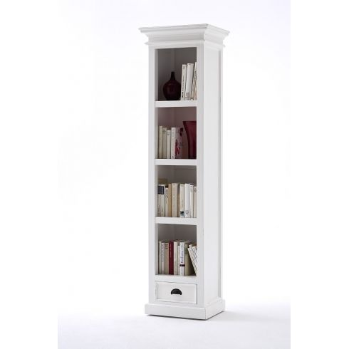 Viborg White Painted Mahogany Tall Narrow Bookcase With Drawer
