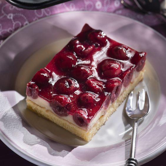 Kirsch Schmand Kuchen Vom Blech Rezept Rezepte Pinterest