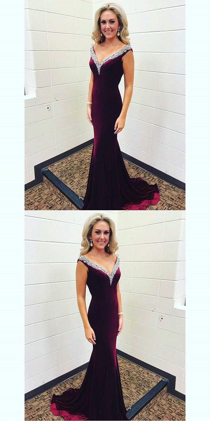 Elegant velvet prom dress beading v neck party dress mermaid long
