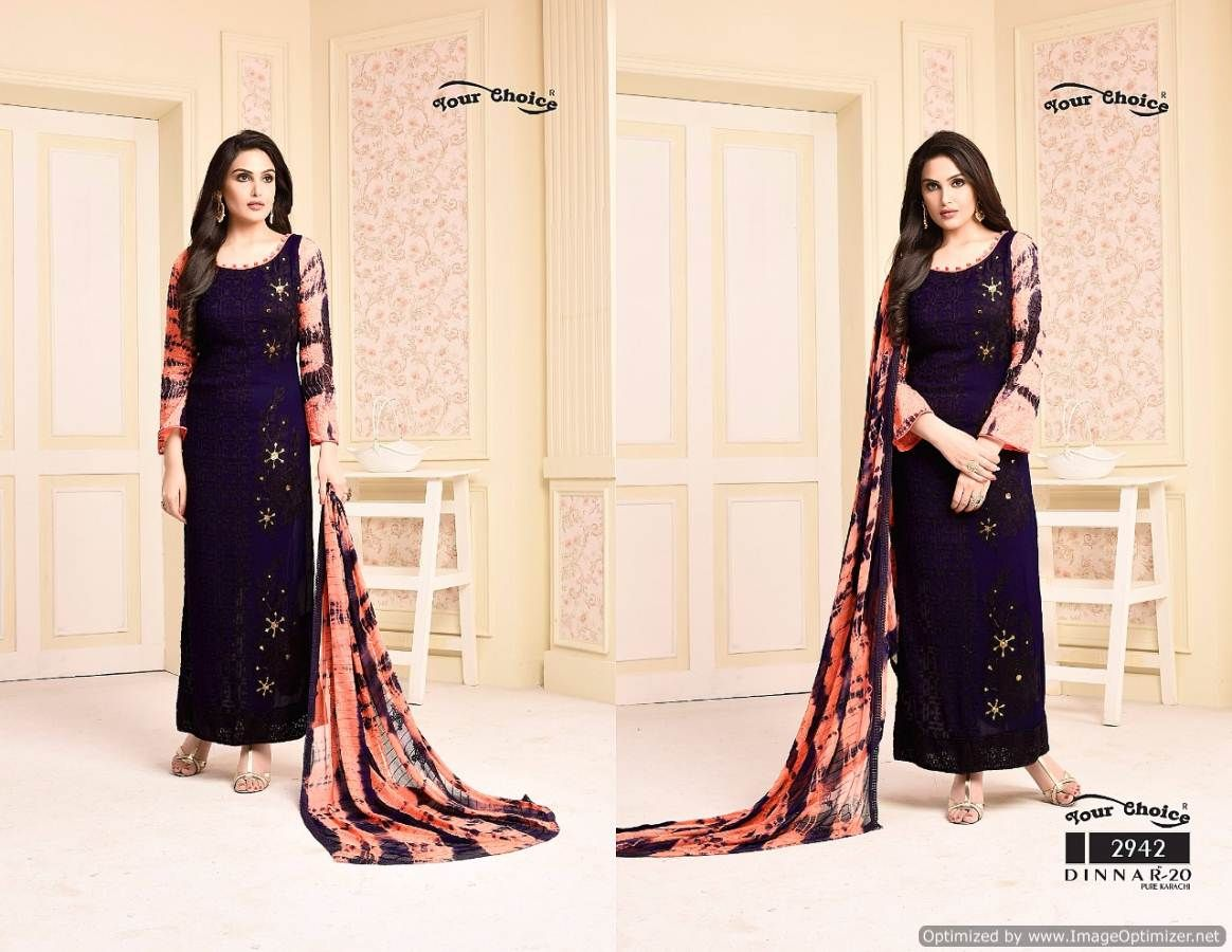 Dinnar Vol 20 By Your Choice Designer Fancy Fabulous Fantastic Pure Chiffon Dress Material At Wholesale Price Dresses Fashion Designer Dresses