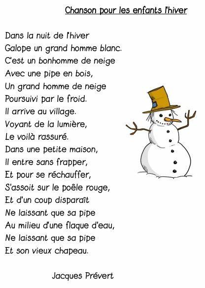 Jacques Prevert Chanson Pour Les Enfants L Hiver Chanson D Hiver Poesie Enfant Poeme Hiver