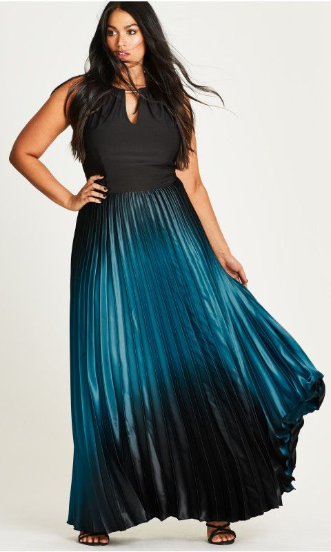 Plus Size Pleated Ombre Maxi Dress Plus Size Special Occasion