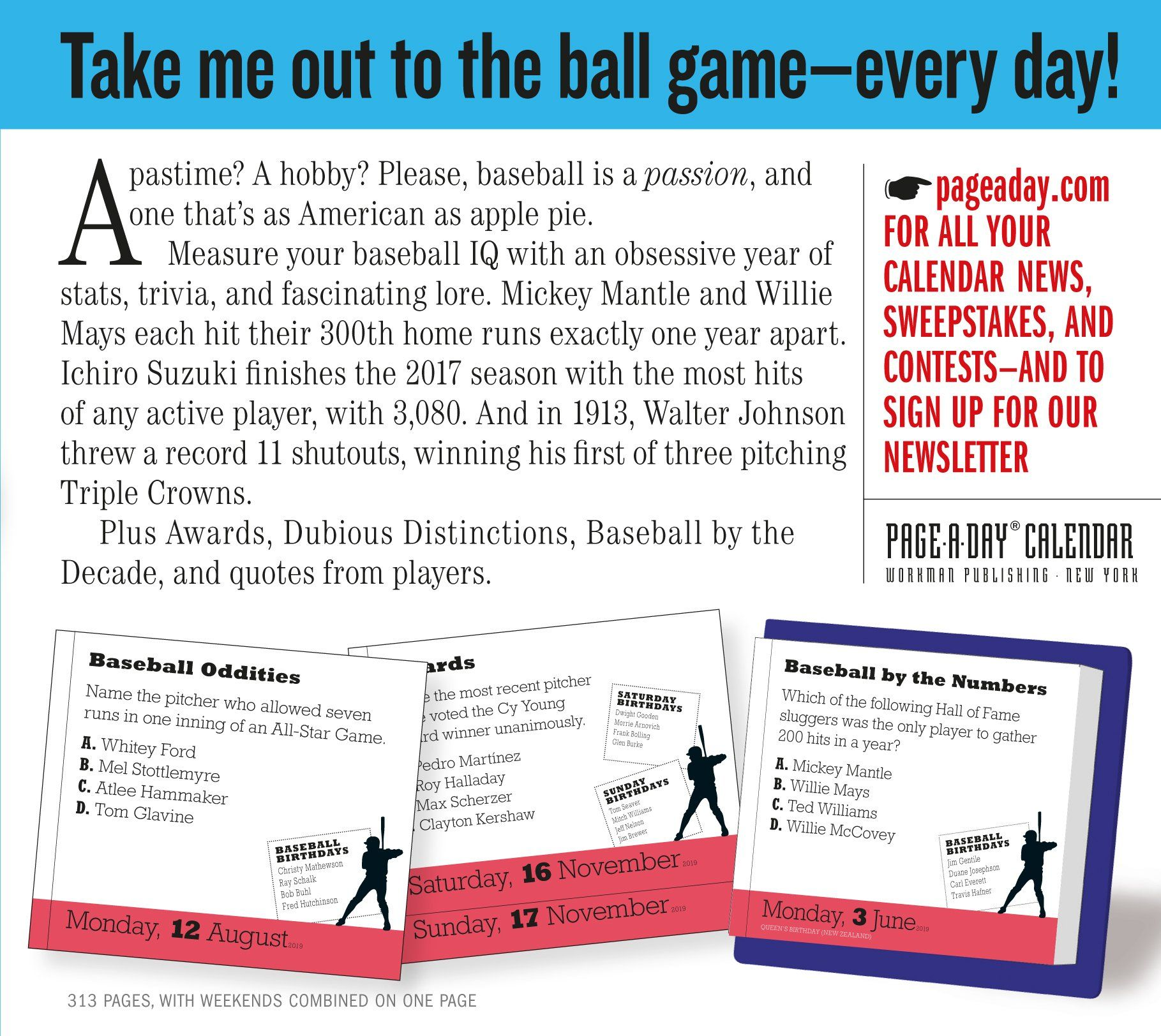 Page-A-Day Calendar 2019 A Year of Baseball Trivia