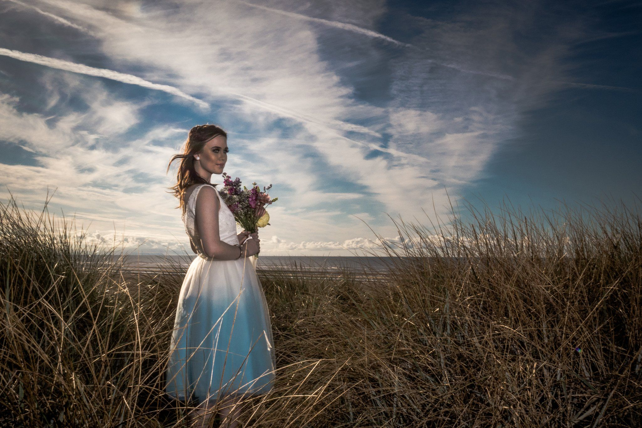Blue dip dye 'Hound Dog' Wedding dress design by Lucy Can't Dance  Beautiful 1950s style dress with tulle dip dye skirt and a low back. available in any colour and length.
