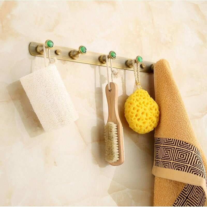 Photo of Antique hanger made of brushed brass Bathroom fittings Bathrobes Wall hooks 2314A