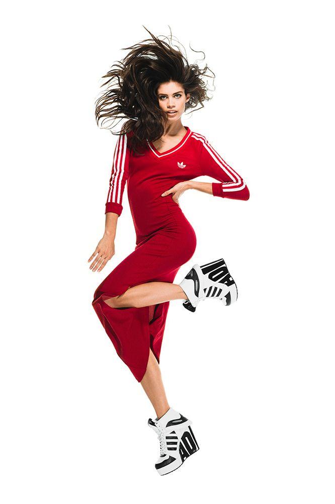 Adidas Originals x Jeremy Scott AW14 - red maxi dress seen on Rihanna   sportsluxe. 9be5796ff6