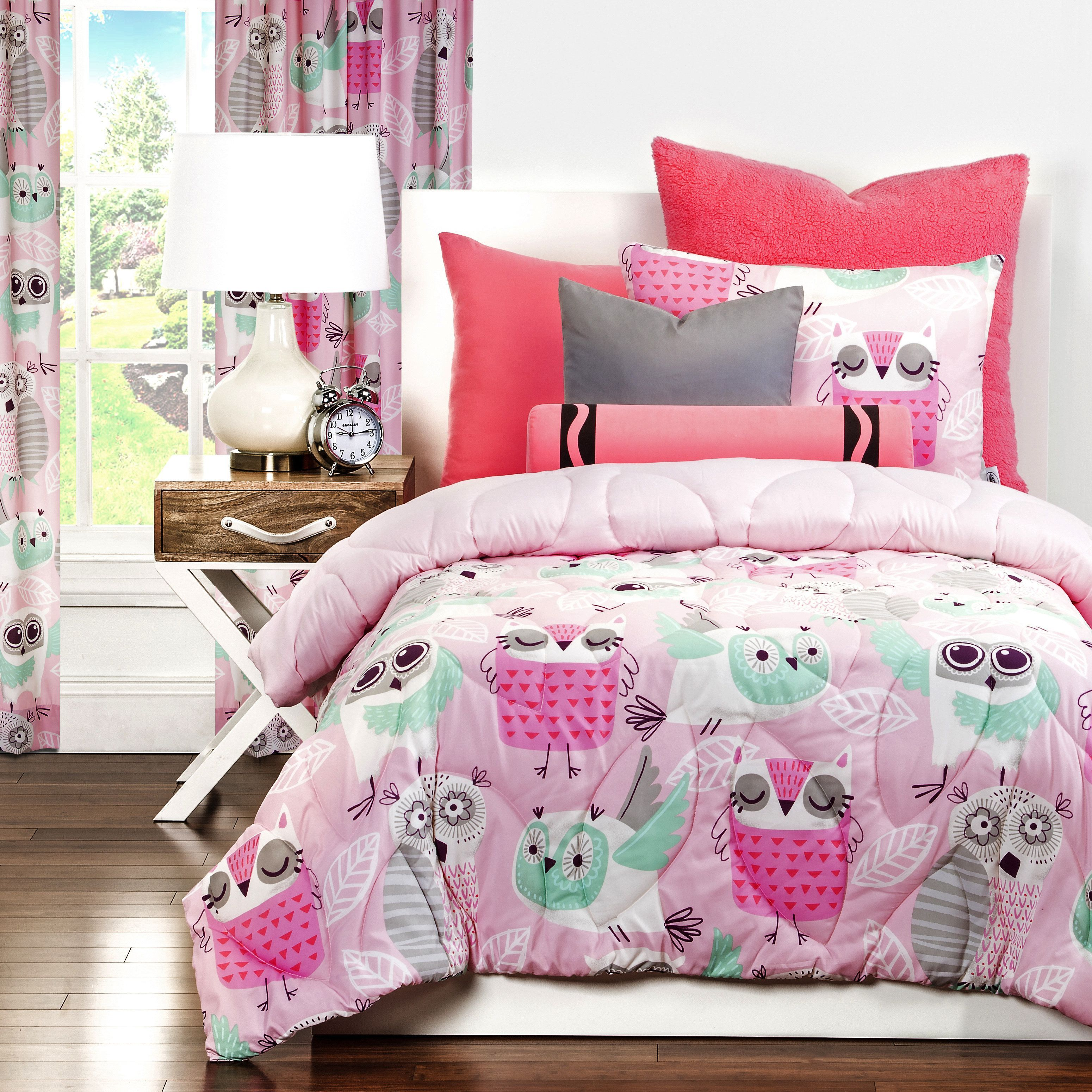 Crayola Night Owl 3 Piece Comforter Set Twin 2 Piece Pink