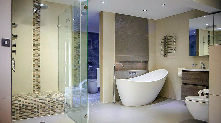 Tiled Shower Enclosures a large frameless glass shower enclosure with wetroom floor and