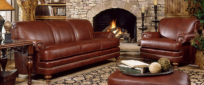 Smith Brothers Of Berne Traditional Brown Leather Sofa