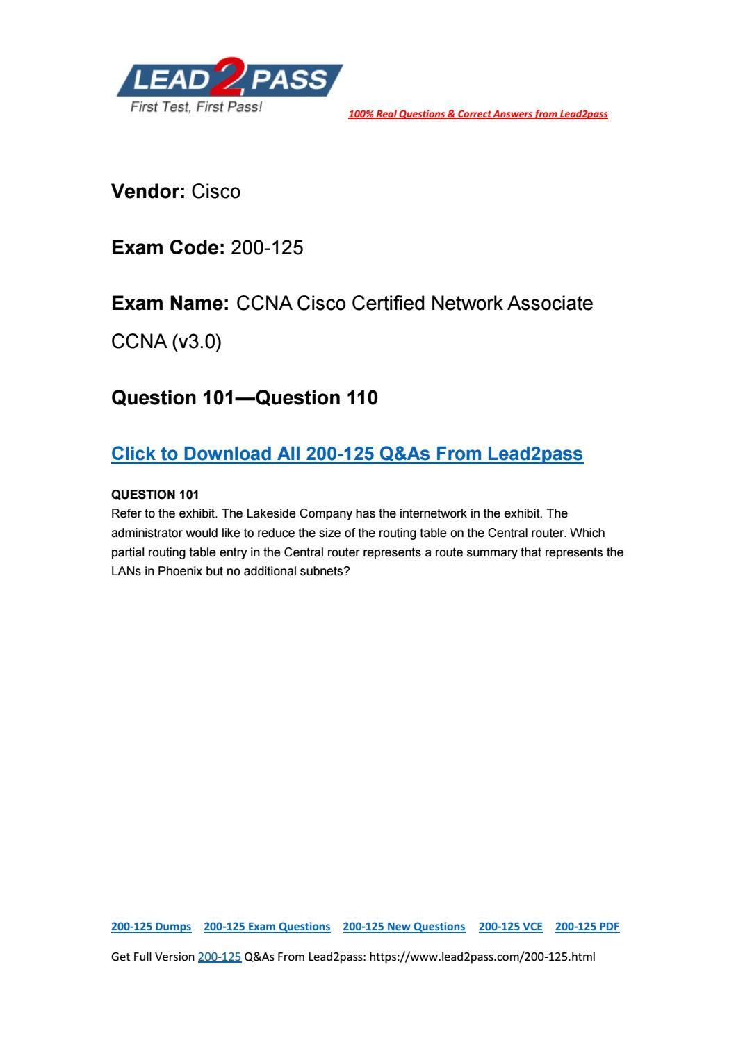 Free Lead2pass 200-125 PDF Download 100% Pass Exam 200-125