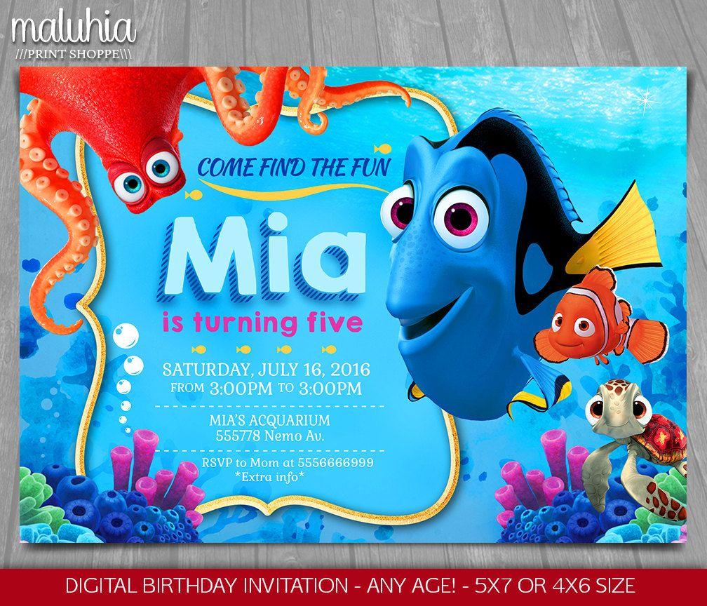 Finding Dory Invitation Finding Nemo Dory Invite Disney Pixar