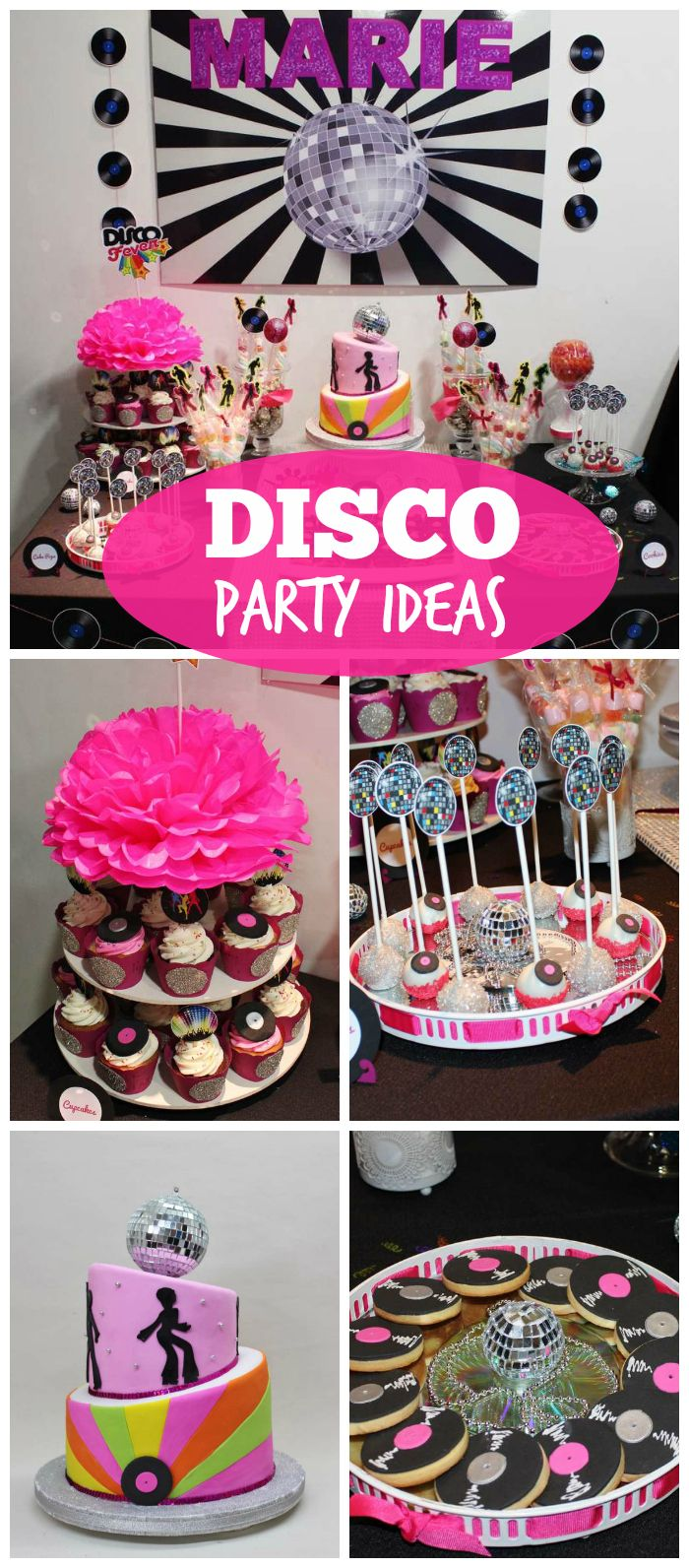 Disco birthday party on pinterest kids disco party for 70s theme decoration ideas