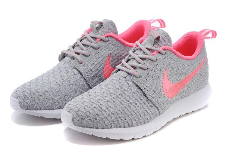 b061b93448de Womens Nike Flyknit Rosherun Gray Pink Shoes