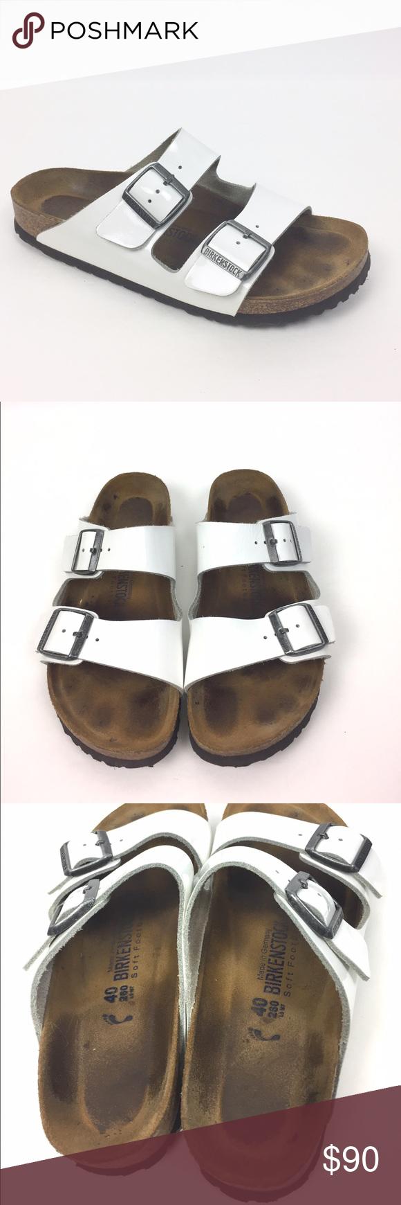 e28da9d47b3 Birkenstock White Patent Leather Arizona Sandal 40