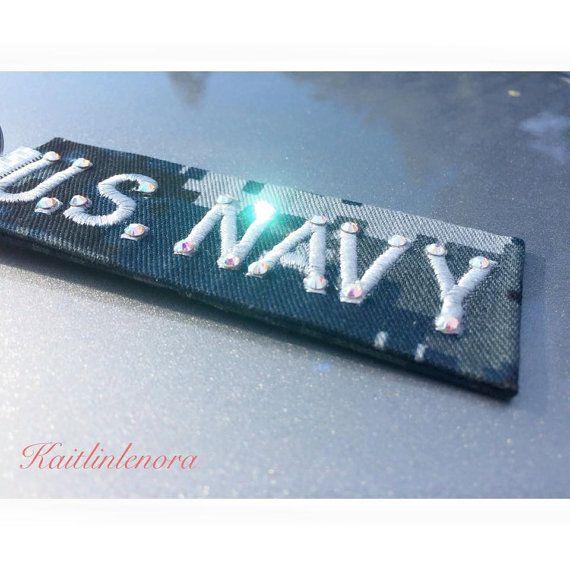 U.S. Navy name tape keychain with Swarovski crystals by Milsoqueen