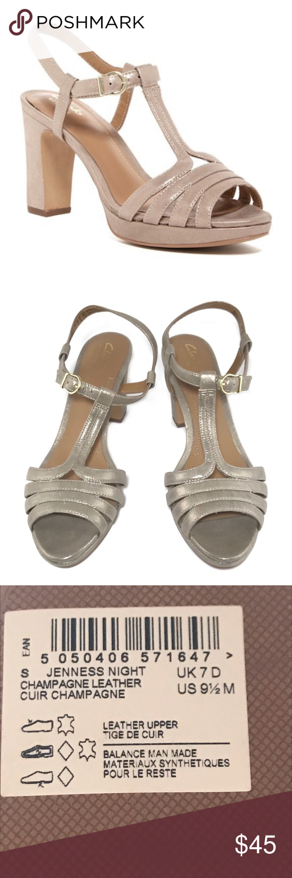1b210ecc8ad3  clarks  Jenness night heel sandal Shimmery champagne colored heels are new  without box. Chunky heel and adjustable ankle strap. Leather uppers.