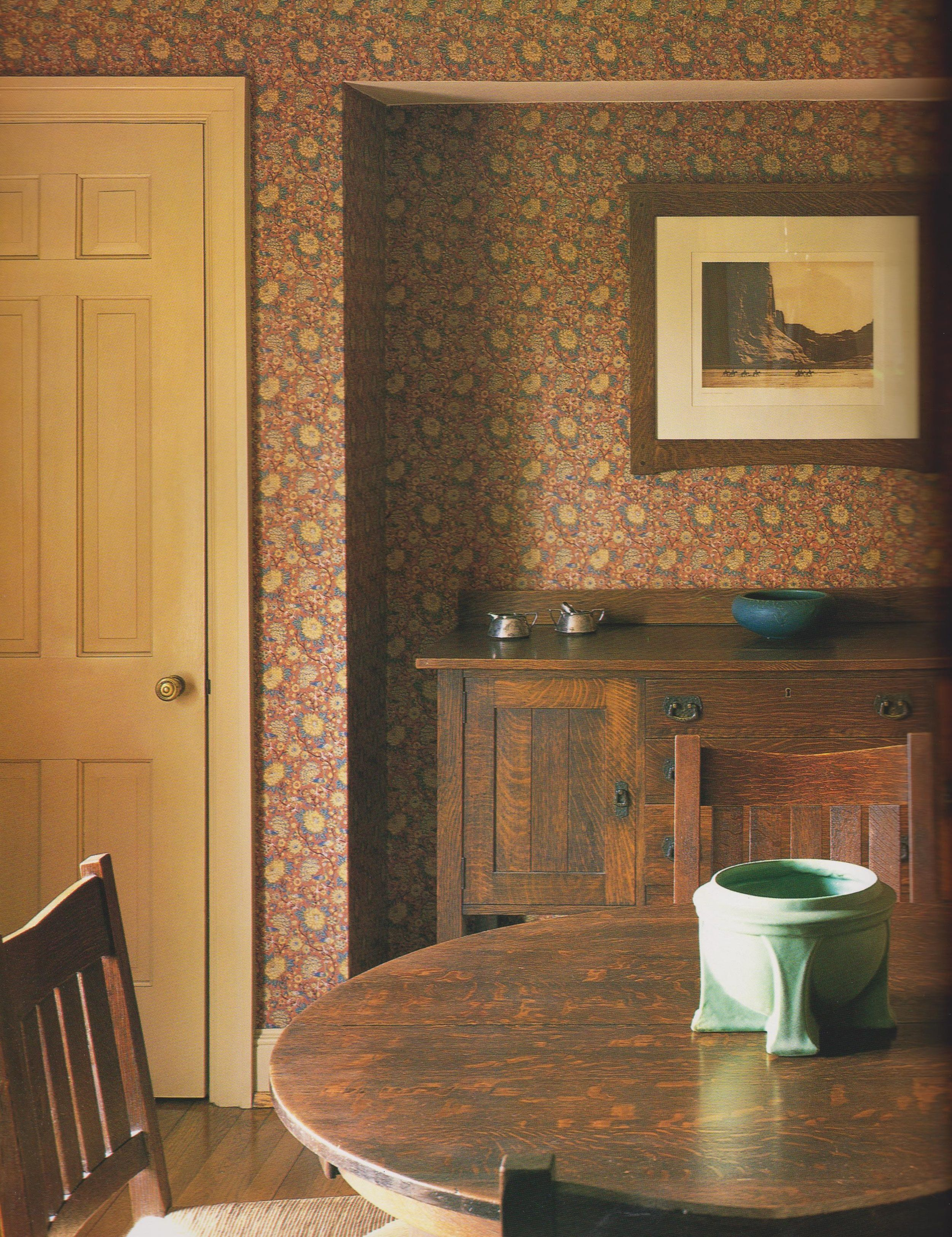 Stickley Dining Room Furniture: Dining Room With Morris & Co. Wallpaper