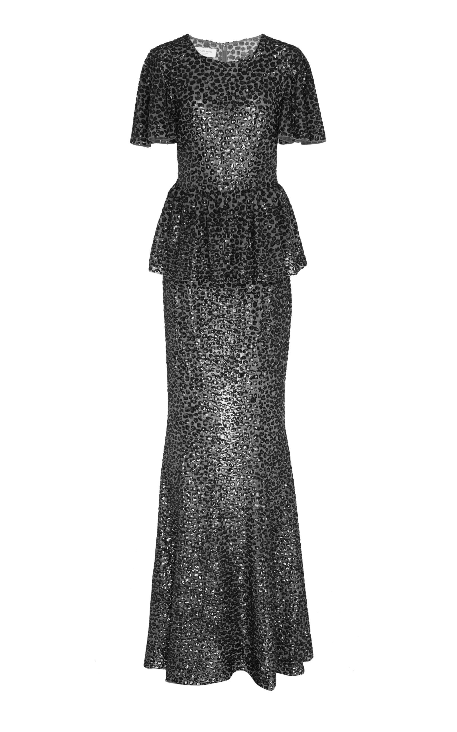 51950f174d84 Michael Kors Collection Sequin-Embellished Peplum Gown   Products in ...