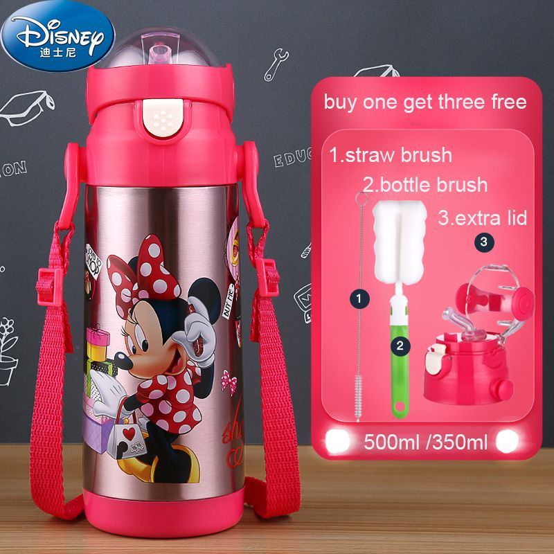 9eccf4349 Disney Stainless Steel 500ml Thermal Cup With Straw Water Bottles for Kids  Milk Cup Thermos Straw Glass Portable Kettle Thermos