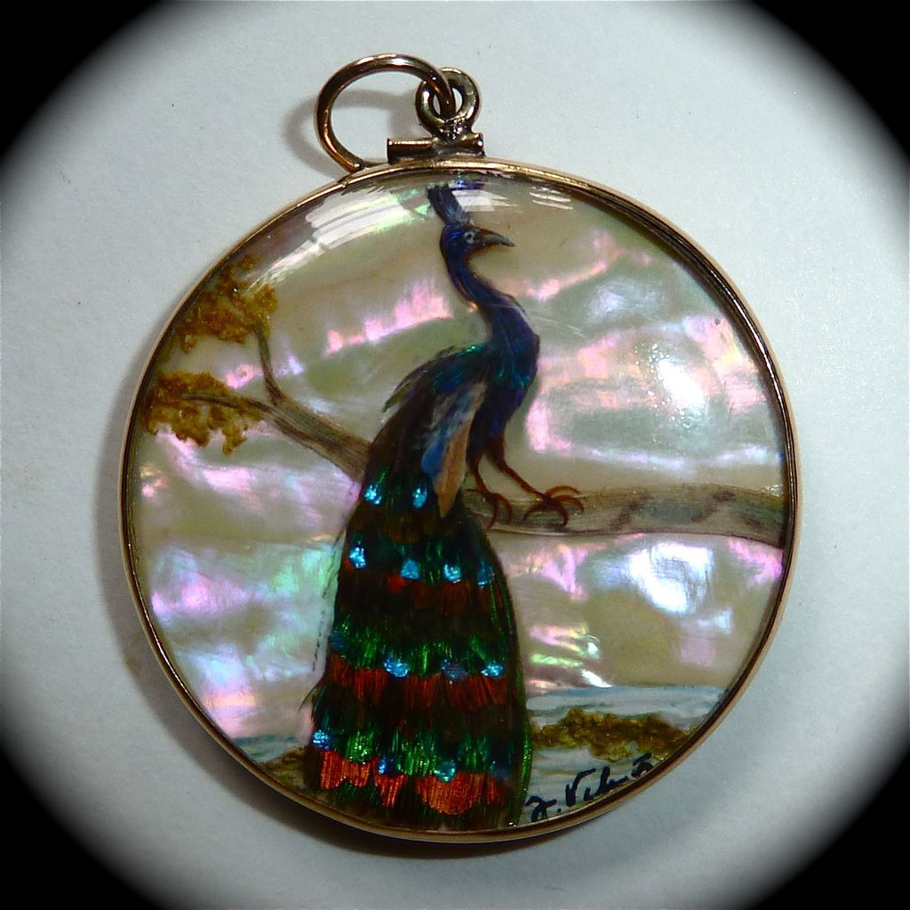Rare 14k Victorian Reversible Fob Pendant Feather Birds Sgnd