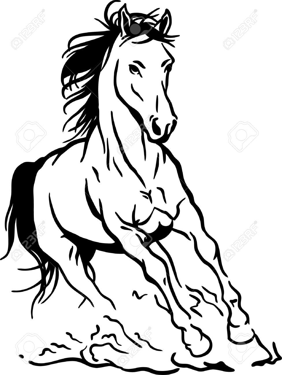 Horse Clipart Black And White : horse, clipart, black, white, Running, Horse, Wall,, Illustration,, Horses