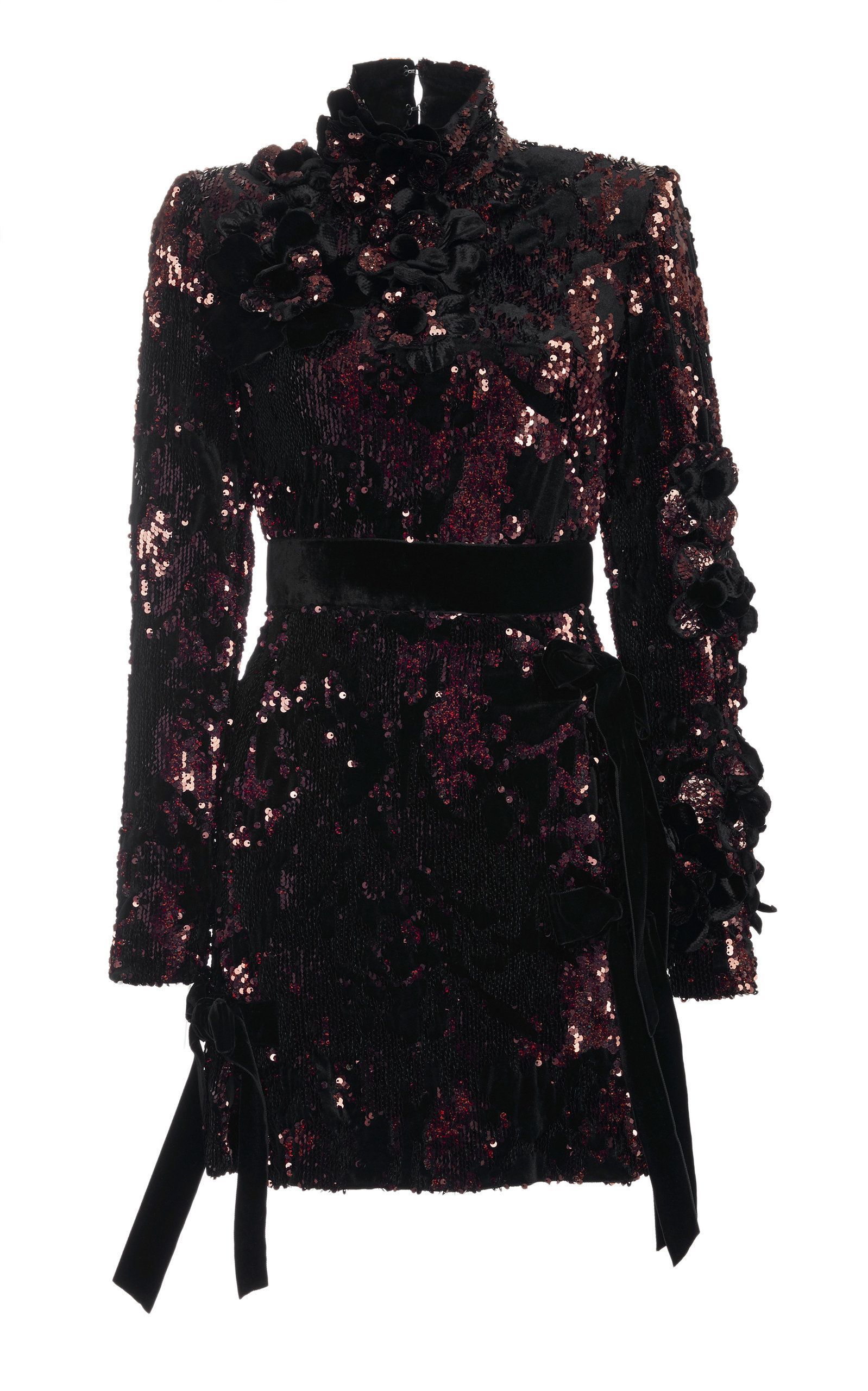 Velvet paillettes short dress by elie saab for preorder on moda