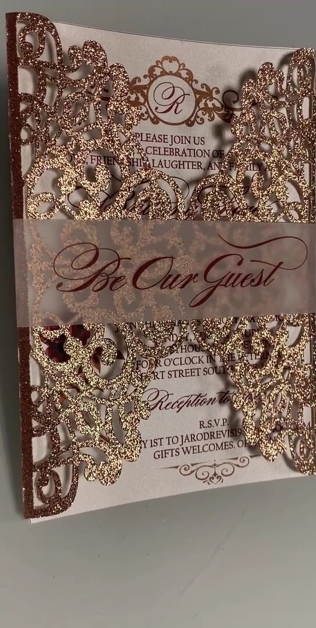 3 25 each beauty and the beast invitations wedding Quinceañera rose gold invitation is part of Wedding invitations - 3 DAY SHIPPING $100 (Please let us know before placing the order) MORE QUESTIONS AND INFORMATION BELOW (RSVP, RECEPTION CARDS PRICING    ECT) MAS INFORMACIÓN ⬇️⬇️⬇️