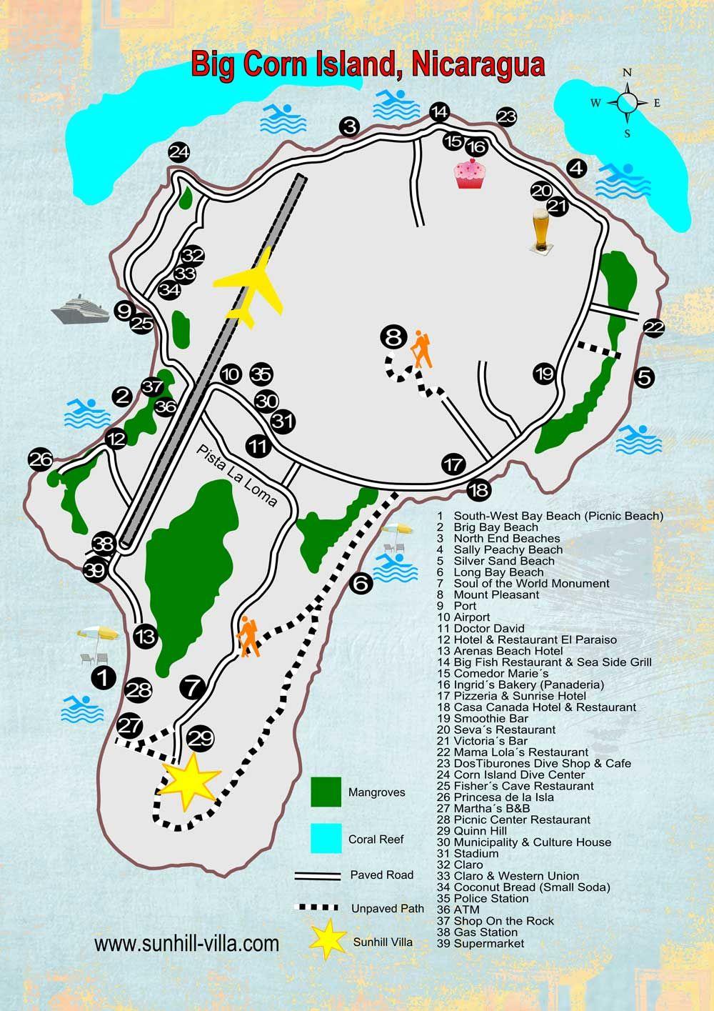 Corn Island Nicaragua Big Corn Island Map  Nicaragua  Pinterest