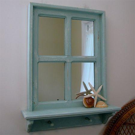 reclaimed vintage old window frame display shelf add a mirror use on patio wall - Mirror Window Frame