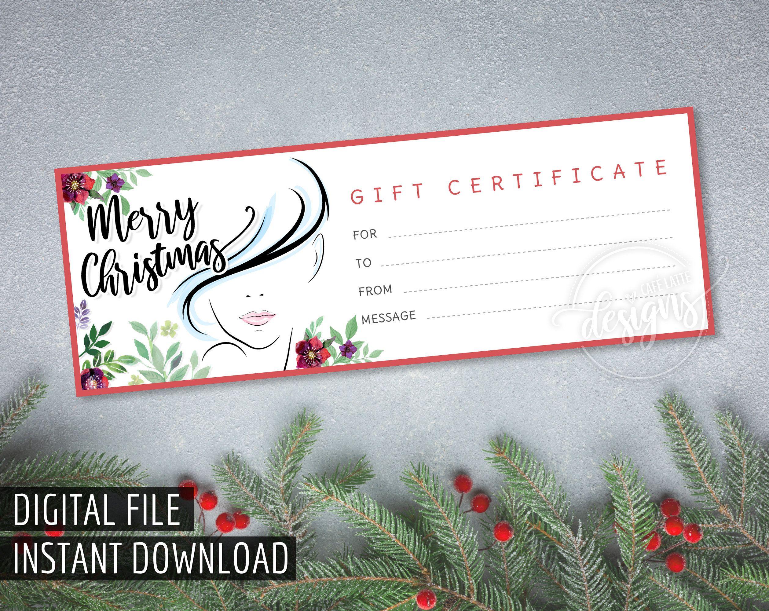 Christmas Gift Certificate Hair Salon Spa Printable Gift Etsy Holiday Gift Card Printable Gift Certificate Christmas Gift Certificate