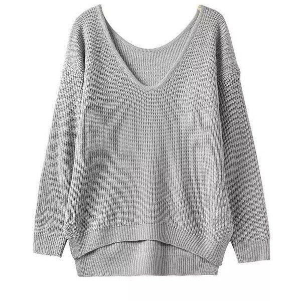 472d039fddc6 Grey Fall Plain Pullovers Loose V Neck Acrylic Casual Long Sleeve Knitwear