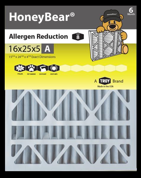 "16x25x5 ""A"" HoneyBear® MERV 8 Allergen Reduction Air"