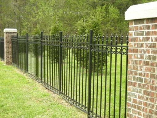 Wrought Iron Fence With Brick Posts Backyard Fences Wrought
