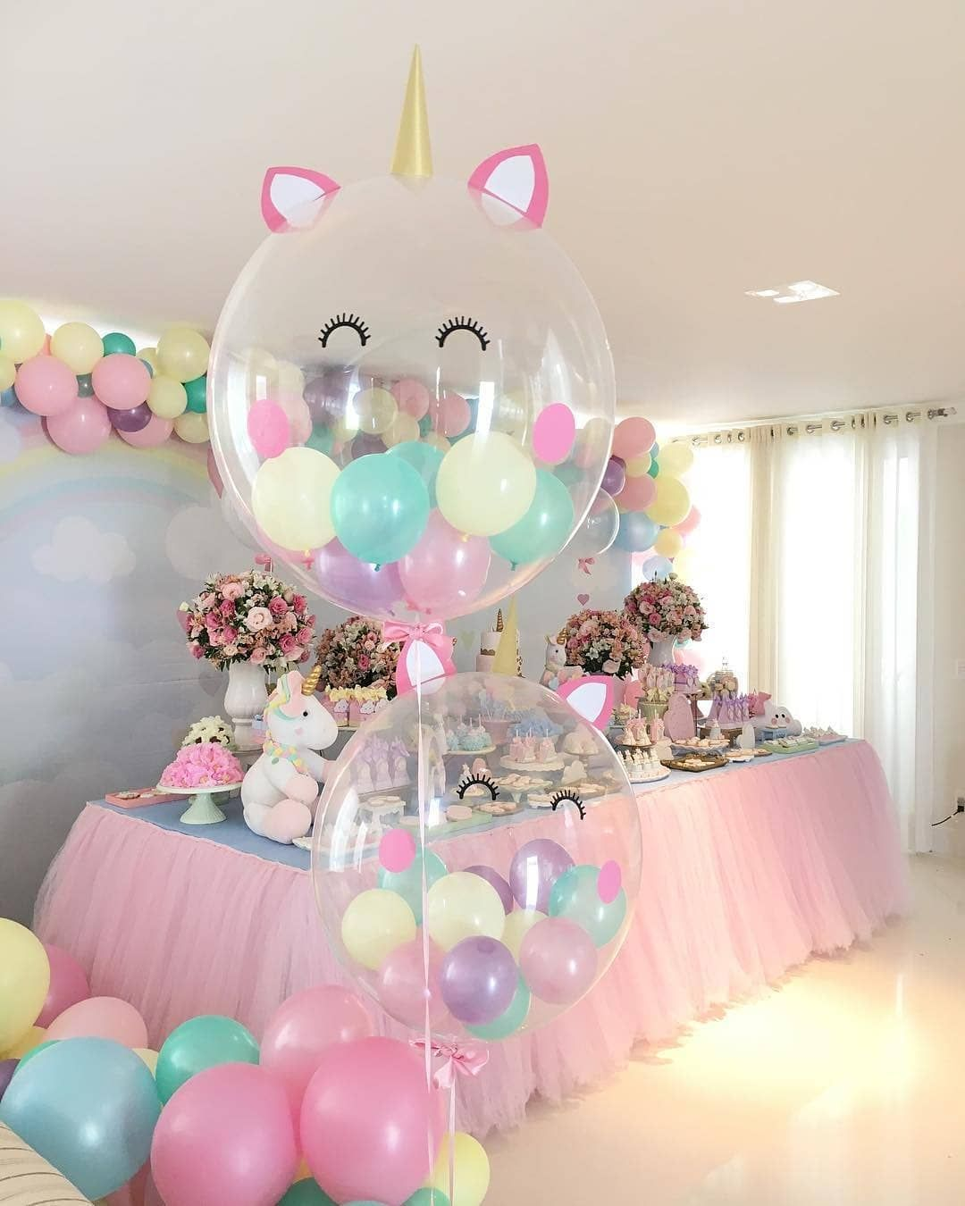 Unicorn birthday party balloons decorations party diy for Birthday balloon ideas
