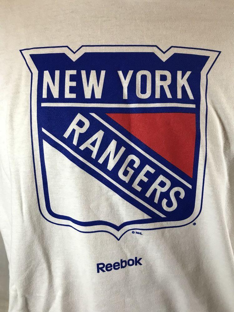 5453d5bc424 New York Rangers T-Shirt Reebok Logo White Cotton Hockey NHL XL Blank Back  NYR #Reebok #NewYorkRangers