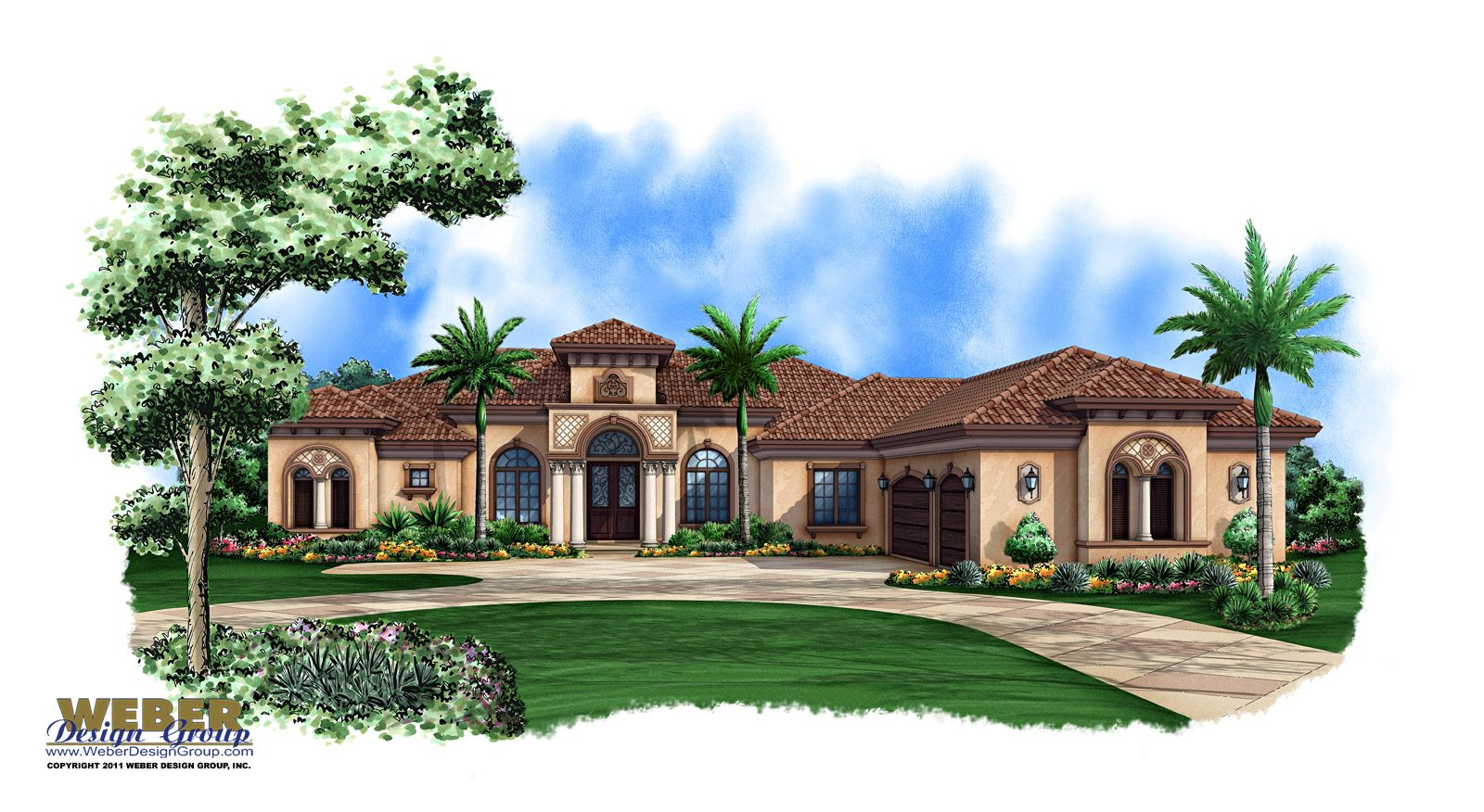 Mediterranean house plan 1 story mediterranean luxury for Single story luxury house plans
