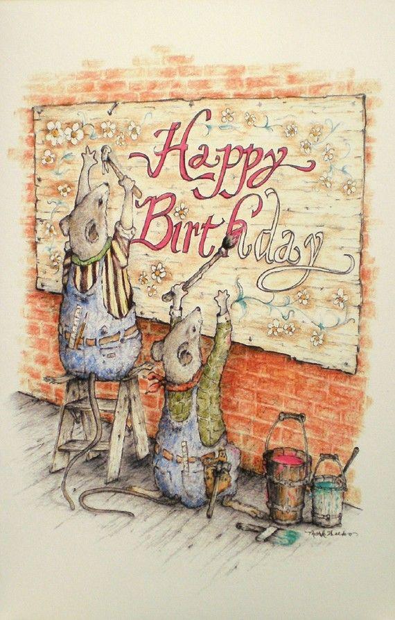 Art Card Greeting Note Happy Birthday Drawing Von Elkman 295