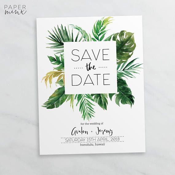 Save The Date Tropical Editable Template Printable Wedding