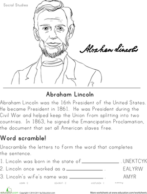 Worksheets Second Grade History Worksheets historical heroes abraham lincoln presidents day lincoln