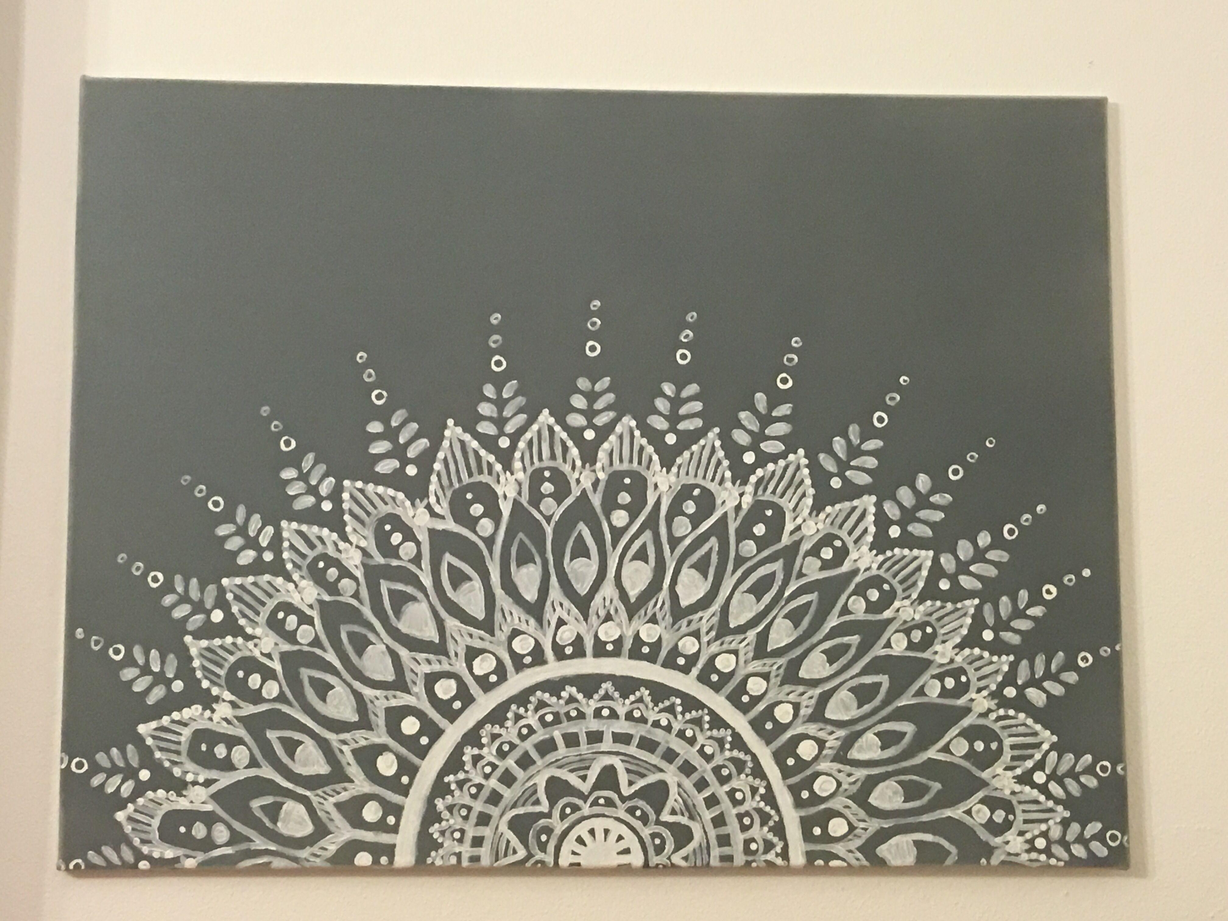 Hand Drawn Mandala Canvas Art
